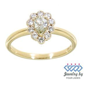 Real Diamond Pear Shaped Charm Ring Yellow Gold